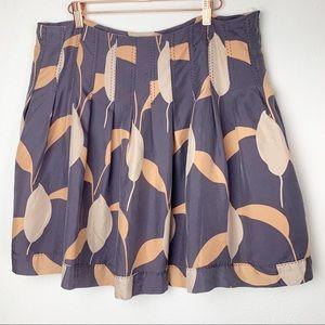 Club Monaco Silk Print Skirt Pleats Top Stiching